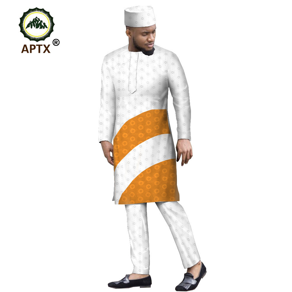 APTX Muslim Suit For Men Jacquard Fabric Tailor Made Knee Length Side Slit Top+ Slim Pants +Cap Men's Casual Suit T1916012