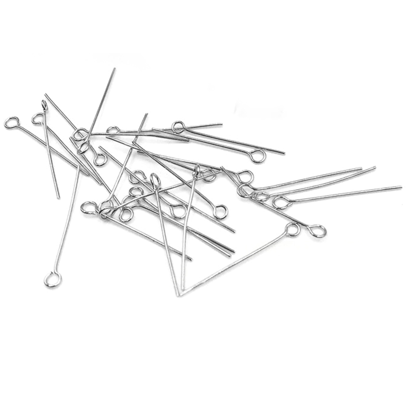 200pcs/Lot No Fade Stainless Steel Eye Pins 20mm 25mm 30mm Findings Eye Head Pins For Jewelry Making DIY Supplies Accessories Pakistan