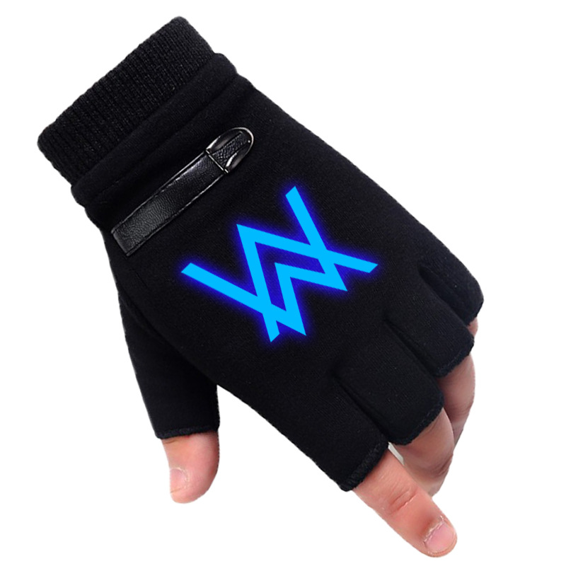 Luminous Winter Anime Fate/stay Night Glove Half Finger Couple Cartoon Fate Zero Mitten Black Plus Cashmere Unisex Cosplay Gift
