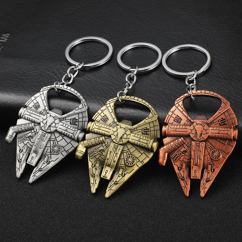 Disney Movie Star Wars Spaceship Millennium Falcon Star Destroyer Slave I Keychains Metal Keyring Key Chain for Men Women
