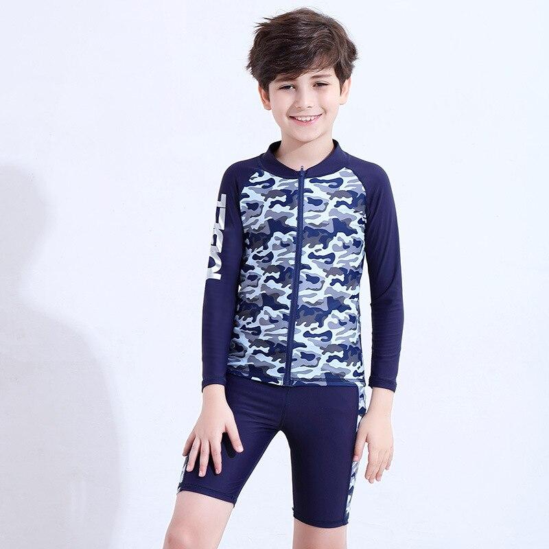 Long Sleeve Split Type Teenager Children Big Boy One-piece BOY'S Sun-resistant Quick-Dry Tour Bathing Suit Bathing Suit Swimming