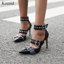Kcenid 2020 Women pumps black PU leather sandals high heels sexy pointed toe buckle strap rivet fashion summer women shoes 34-48(China)