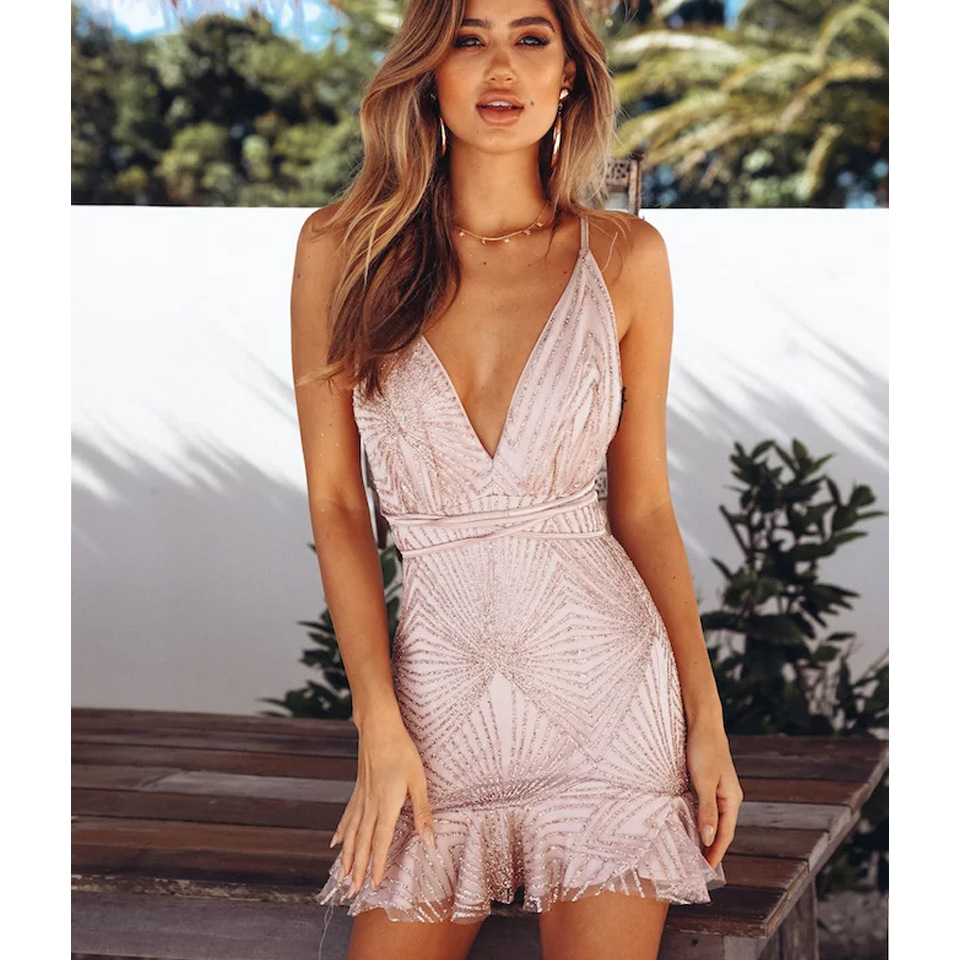Short Mini Deep V Cocktail Dresses Formal Party Gowns Sexy Backless Sparkling Woman Short Event Gown