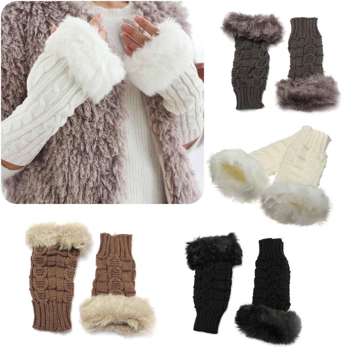 Women Fashion Lovely Winter Glove Patchwork Knitted Woolen Mittens Long Imitation Rabbit Hair Half Finger Warm Woman Gloves