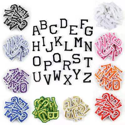 26Pcs/set A-Z Pure White English Alphabet Letter <font><b>Patch</b></font> Mixed Embroidered <font><b>Iron</b></font> <font><b>on</b></font> <font><b>Kids</b></font> Cartoon <font><b>Patches</b></font> for Clothes Stickers Badge image
