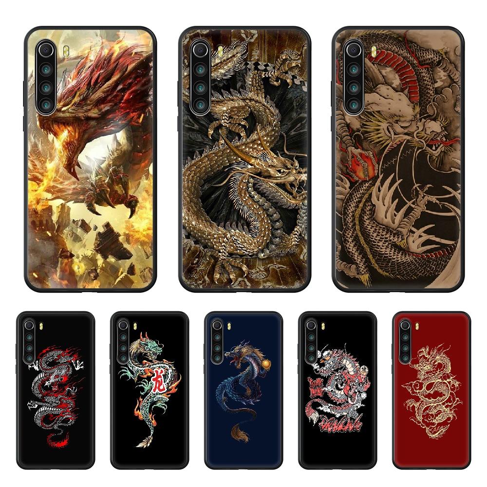 Dragon art dragon oriental Phone Case cover For xiaomi Redmi note 4 5 6 7 8 A T X Plus Pro black funda tpu shell painting