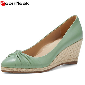 MoonMeek 2020 new arrival single shoes spring summer genuine leather shoes women pumps pointed toe casual wedges shoes woman