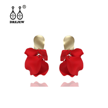 DREJEW Red Orange Blue White Alloy Flower Statement Earrings 2019 925 Drop for Women Wedding Fashion Jewelry HE9441