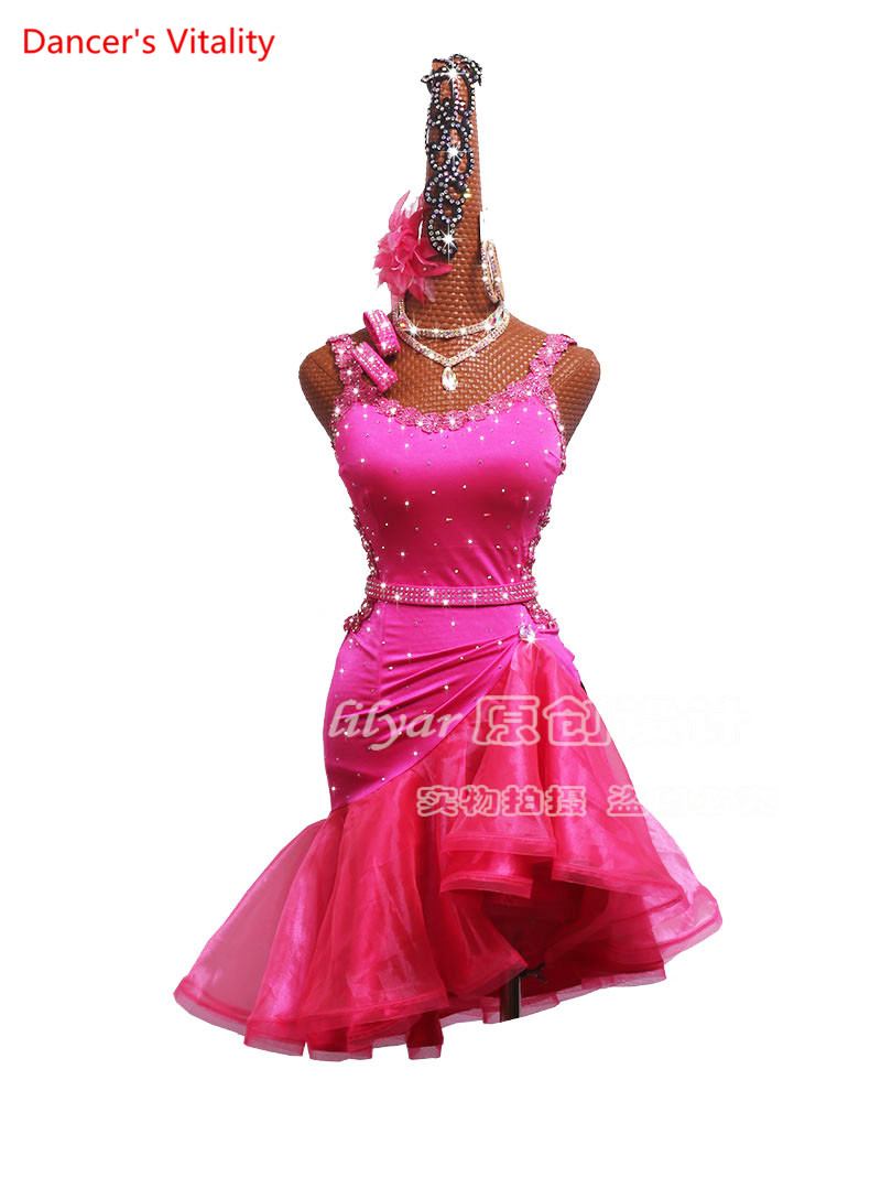Custom Made Latin Dance Competition Performance Clothing Adult Women Children Rose Red Lace Embroidered Fish Bone Skirt