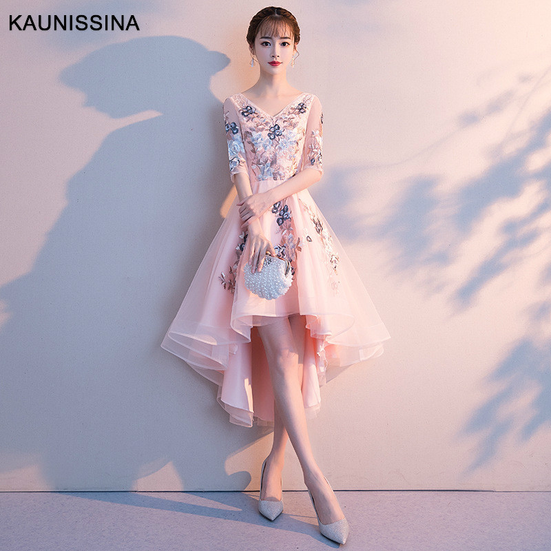 KAUNISSIN A -Line Party Dress Embroidery Cocktail Vestidos Half Sleeve Tulle Homecoming Dress Celebrity Prom Gowns