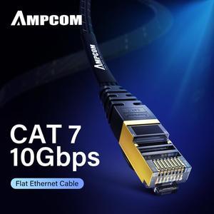 Image 1 - Câble Ethernet AMPCOM RJ45 Cat7 câble Lan STP RJ 45 câble réseau plat cordon de raccordement pour Modem, routeur, TV, tableau de connexions, PC, ordinateur portable