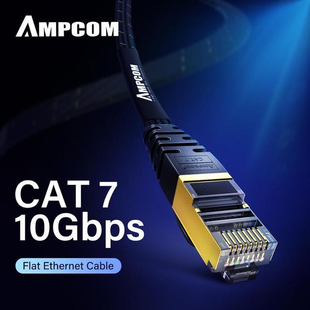 Câble Ethernet AMPCOM RJ45 Cat7 câble Lan STP RJ 45 câble réseau plat cordon de raccordement pour Modem, routeur, TV, tableau de connexions, PC, ordinateur portable