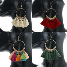 BTWGL2019 Bohemian Handmade Tassel Earrings Ladies Retro Fan-Shaped Long Earrings Wedding Party Bride Tassel Jewelry Gifts