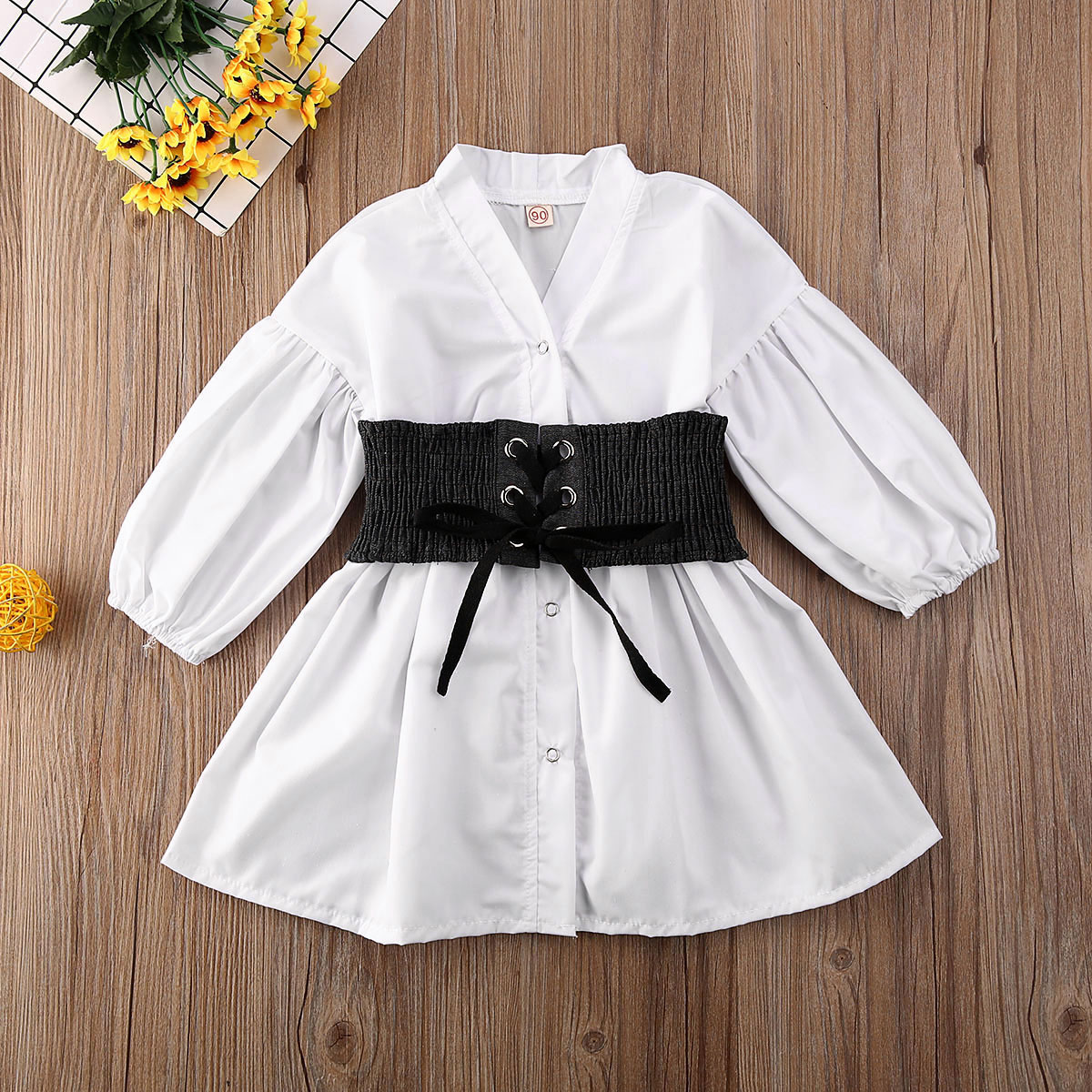 Pudcoco Toddler Baby Girl Clothes Solid Color Puff Long Sleeve Shirt Tops Waist Binding Outfit Clothes 1-6Y