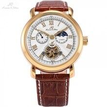 Navigator KS, спортивные часы, золотой чехол, автоматический, с защитой от солнца, Луны, дня и ночи, с кожаным ремешком, мужские механические часы Mirar