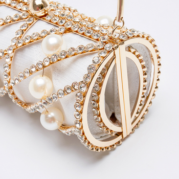 Hollow Out Diamonds Small Barrel Shaped Metal Cage Evening Clutch 6