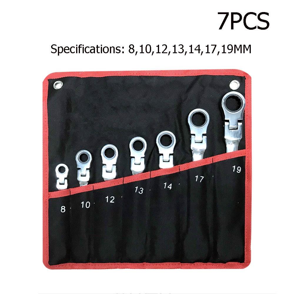 Набор ключей гаечный ключ Мультитул ключ трещетка набор ключей гаечных инструментов набор гаечных ключей универсальный гаечный ключ инструмент инструменты для ремонта автомобиля - Цвет: 7PCS