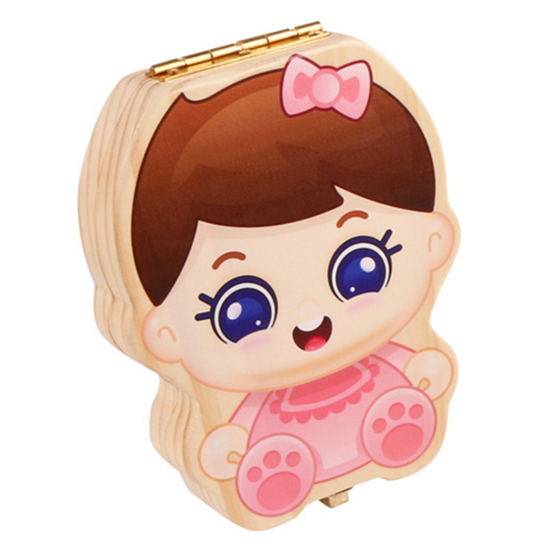 Baby Tooth Box Kids Organizer Milk Teeth Wooden Storage Baby Teeth Box For Boy Girl Save Teeth Umbilical Cord Lanugo,Pink