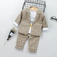 Boys Suits Blazers Fashion White Shirts Plaid Tops Long Pants Cotton Chlidren Clothing Sets Child Wedding Jacket for Kids
