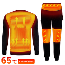 Winter Heated Underwear Battery Powered USB Fleece Lined Heating Motorcycle Jacket T shirts & Pants Electric Thermal Ski Set