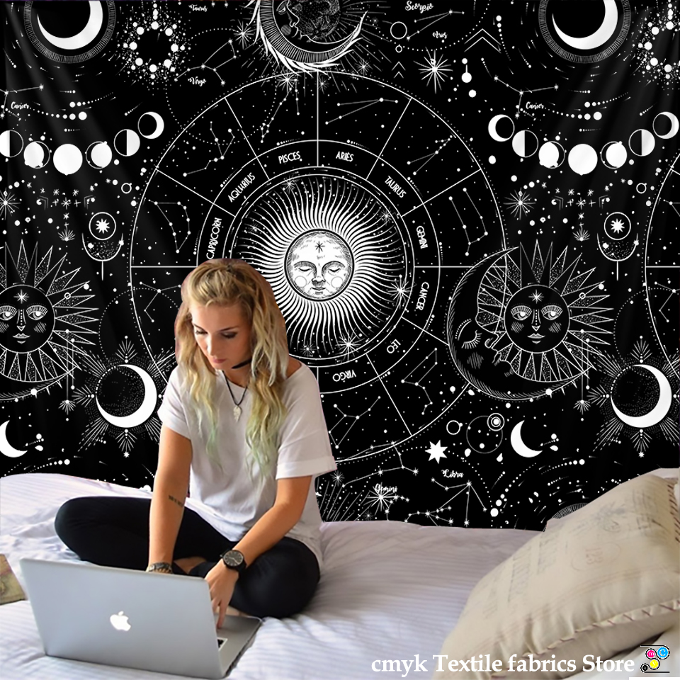White Black Sun Moon Mandala Starry Sky Tapestry Wall Hanging Bohemian Gypsy Psychedelic Tapiz Witchcraft Astrology Tapestry