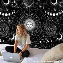 Weiß Schwarz Sonne Mond Mandala Starry Sky Wandteppich Hängen Bohemian Gypsy Psychedelic Tapiz Hexerei Astrologie Tapisserie