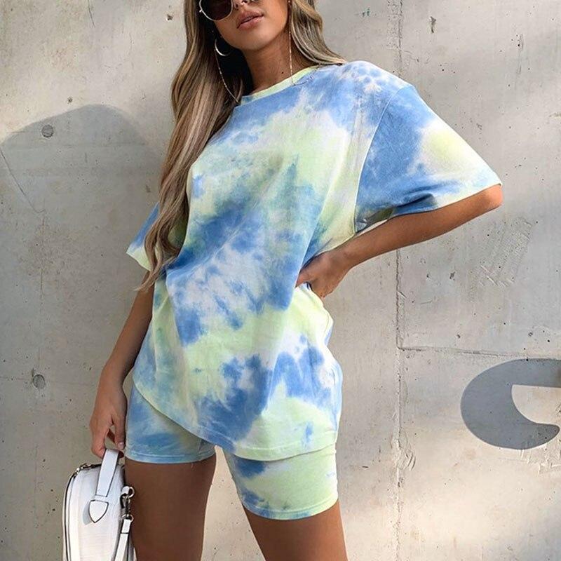 2020 Summer Women Dance Hip Hop Sport 2 Two Piece Set Outfits Streetwear Printed Short Sleeve Top Tshirt Shorts Set Tracksuit