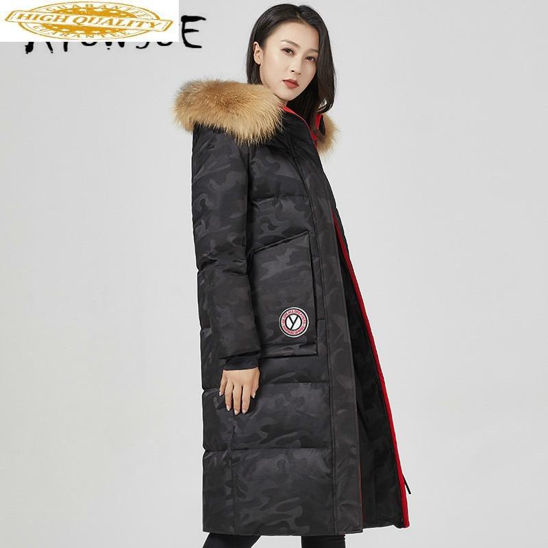 2019 New Winter Coat Women 90% Goose Down Jacket Women Warm Parka Raccoon Fur Collar Puffer Jacket Women YT613F450 YY1645