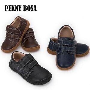 Image 2 - Фирменная кожаная обувь для детей, девочек, мальчиков, босинки, повседневные кроссовки для малышей, размер 25 35 #