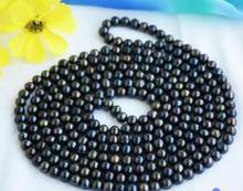 Jewelry Pearl Necklace stunning9-10mm freshwater multicolor black green red pearl necklace 48inch 925silver Free Shipping(China)