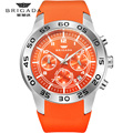Мужские часы Brigada, кварцевые оранжевые часы, 5 бар, водонепроницаемые, Топ бренд, роскошные часы для мужчин, AAA, светящиеся, силиконовые, спорт...
