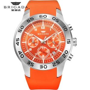 Image 1 - Бригада мужские часы кварцевые оранжевые часы 5bar Водонепроницаемый Топ Роскошные Брендовые Часы для мужчин AAA светящийся силиконовые спортивные наручные часы