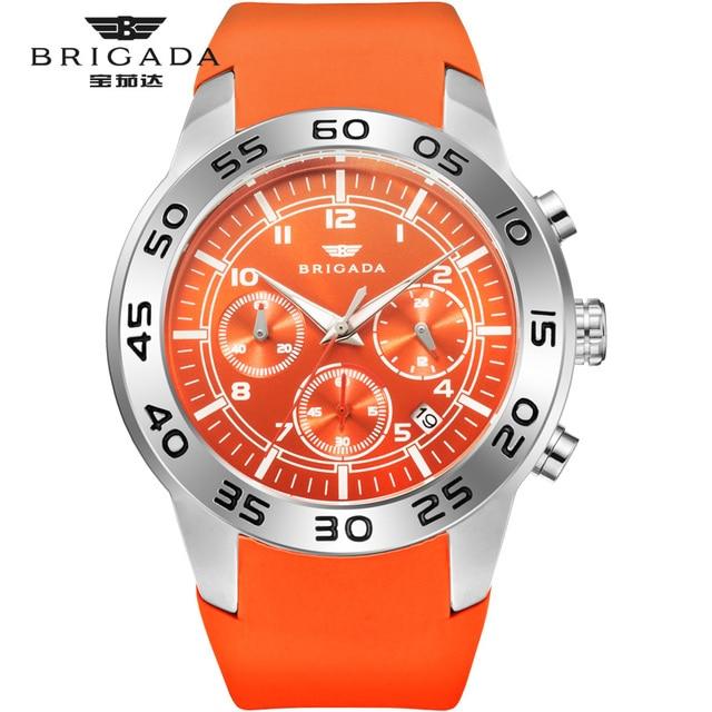 Бригада мужские часы кварцевые оранжевые часы 5bar Водонепроницаемый Топ Роскошные Брендовые Часы для мужчин AAA светящийся силиконовые спортивные наручные часы