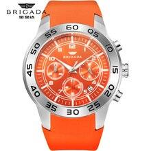 Brigada relojes para hombre, de cuarzo naranja, resistente al agua, 5bar, de pulsera, deportivo, de silicona, luminoso, AAA