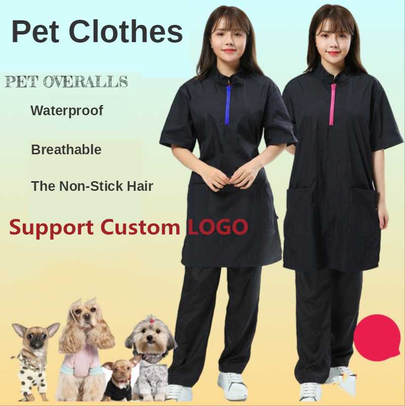 S/M/L/XL/2XL/3XL Pet Groomer Overalls Anti-static Apron Cat Dog Grooming Cleaning Work Clothes For Pet Shop Beauty Client G0520