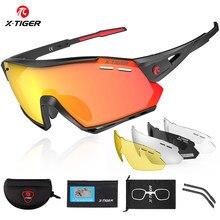 X-TIGER lunettes de cyclisme polarisées 5 lentilles sport hommes lunettes de soleil montagne vélo lunettes route vtt vélo lunettes lunettes de Protection