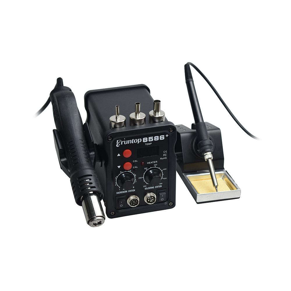 2 In 1 Eruntop 8586+ ESD Hot Air Gun Soldering Station  Welding Solder Iron For IC SMD Desoldering Rework Upgraded 8586