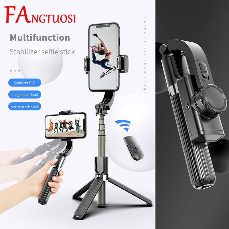 FANGTUOSI Bluetooth ручной шарнирный стабилизатор с поворотом на мобильный телефон для селфи с Bluetooth кнопкой на ручке Регулируемый монопод для селфи...