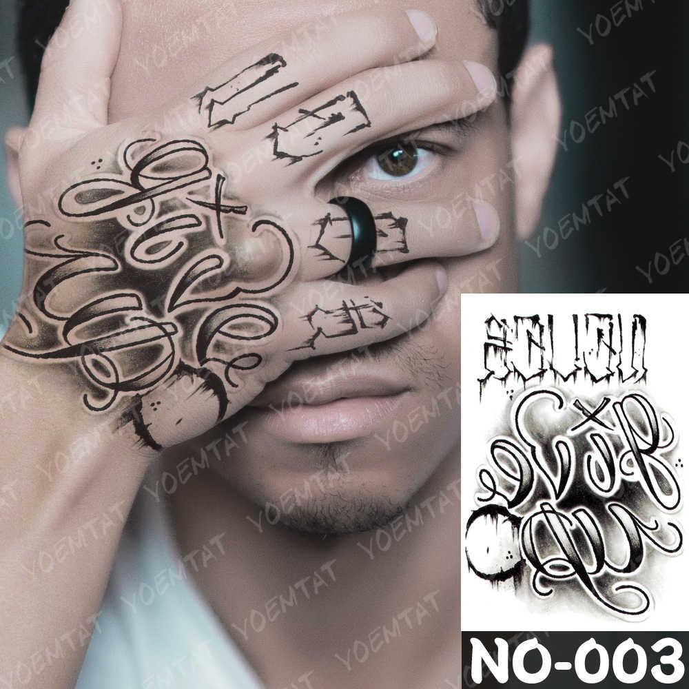 Tahan Air Sementara Tato Stiker Warna Tiger Prajurit Palsu Tatto Flash Tato Tangan Lengan Teks Prajna Tato Seni Tubuh untuk Wanita pria