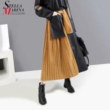 New 2019 Korean Style Women Black Faux Leather Patchwork Long Pleated Skirt Elastic Waist Ladies Stylish Casual Skirt Femme 5692