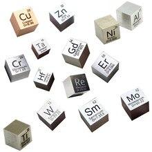 10mm Cube Metal Elements Silver Indium Bismuth Nickel Carbon Titanium Gadolinium Copper Vanadium Iron Zinc Tin Tungsten Samarium