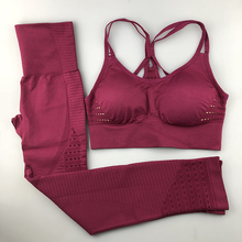 купить Seamless Yoga Set Women Fitness Clothing Sportswear Woman Gym Leggings Padded Push-up Strappy Sports Bra 2 Pcs Sports Suits дешево