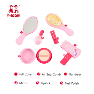 Image 4 - Girls Makeup Set Toy Wooden Cosmetics Toy Baby Pretend Play Simulation Beauty Fashion Toy For Kids PHOOHI