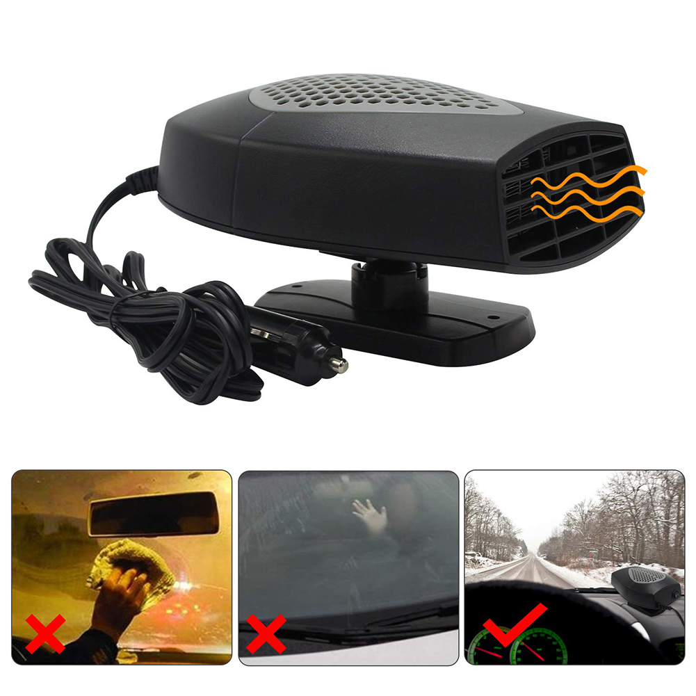Black Gray 60 Seconds Fast Heating Quickly Cooling Fan 12V 150 W Auto Defogger Defroster Plug in Cig Lighter with 360/° Rotating Base Portable Car Heater