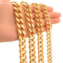 Granny Chic Cuban Gold Color Chain For Men Hip Hop Jewelry  9/11/13/15 MM Stainless Steel Curb Necklace Or Bracelet