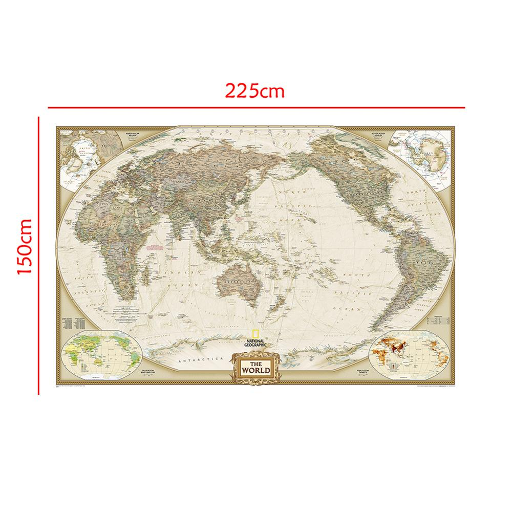 150x225cm The World Physical Map Foldable No-fading Non-woven Map For Education And Culture