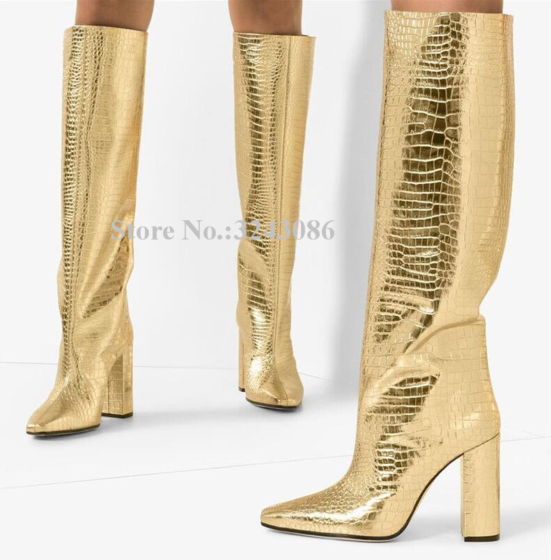 New Gold Color Crocodile Print Chunky Heel Knee High Boots Women Brand Design Thick Heel Lady Fashion Long Boots Dropship Winter