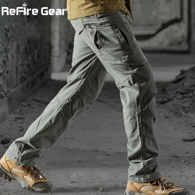 ReFire Gear 2019 Military Tactical Cargo Pants Men SWAT Combat Rip-Stop Many Pocket Army Trouser Stretch Cotton Casual Work Pant