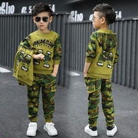 New Fashion Boys camouflage clothing set 3pcs for big kids Hooded Jacket T shirt pant clothes suit 3 5 6 7 8 9 10 11 years