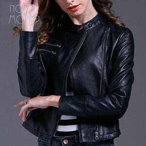 Image 2 - Черная женская кожаная куртка из овчины, узкая мотоциклетная байкерская куртка, пальто, chaqueta mujer jaqueta de couro LT1603